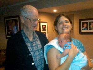 Great Grandpa Mark, Granddaughter Marissa, and Greatgrandbaby Derek