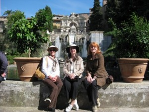 Bobbi, Shelley, and me at Villa d'Este outside Rome