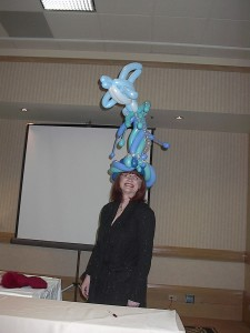 Chellie in dolphin balloon hat by Suzanne Haring