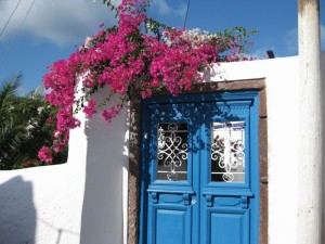 Blue door in Santorini
